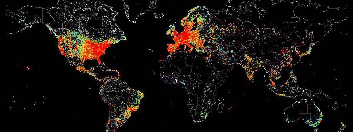 Densité des appareils connectés à internet dans le monde
